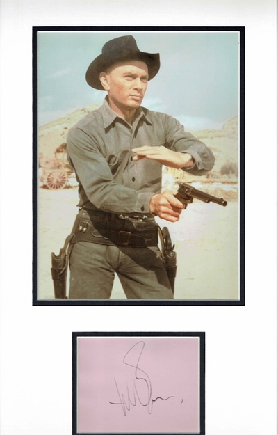 Yul Brynner signed album page