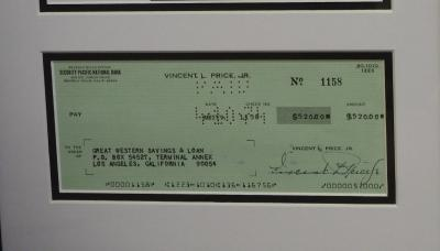 Vincent Price signed cheque