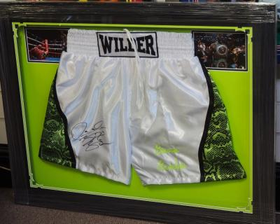Deontay Wilder signed trunks
