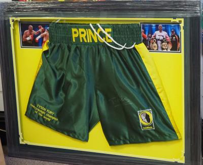 Tyson Fury signed boxing trunks